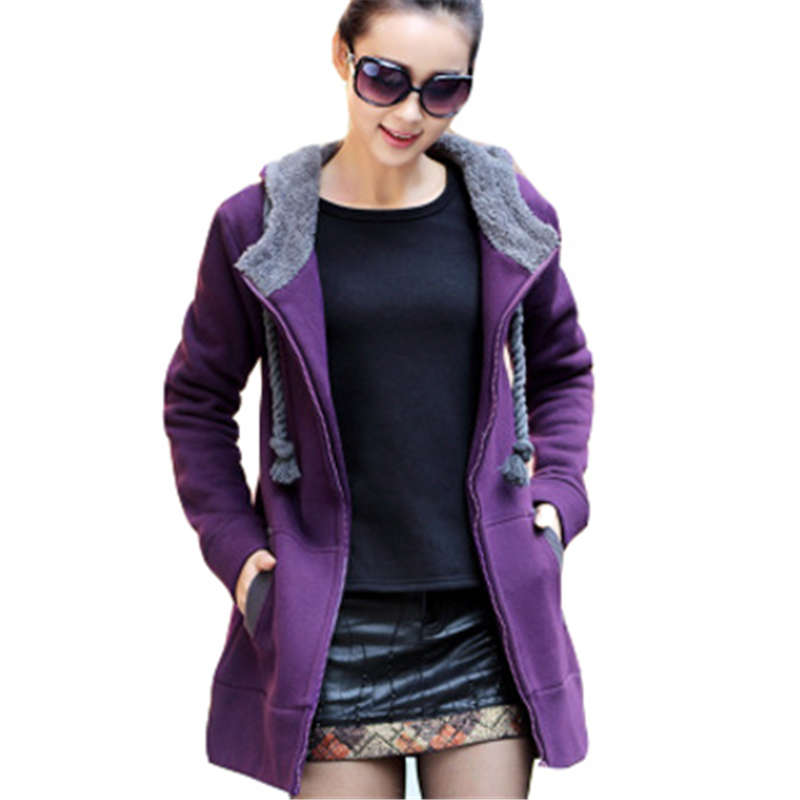 2017 Fashion Woman Winter Hooded Sweatshirt Mid-long Style Thicken Hooded Coat Loose Big Size Casual Hoodie Outerwear SS298