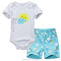 100 Cotton 2016 Baby Girls Newborn Boys Bebe 2pcs Clothing Clothes Set Unisex Summer Bodysuit Baby