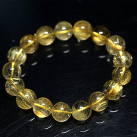 Natural Genuine Clear Yellow Gold Hair Rutile Quartz Stretch Men's Bracelet Round Beads 12mm