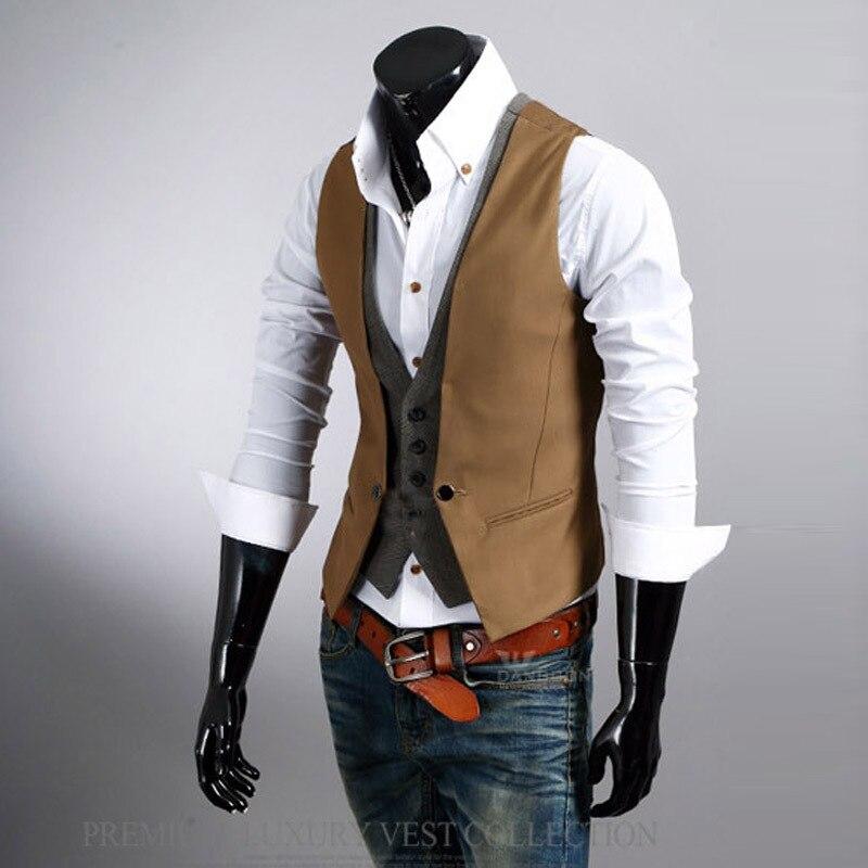 Aliexpress.com Comprar 2016 Otoño Nueva Lista de Los Hombres Chaleco de La Marca de Moda Diseño de Dos Falsos chaleco Masculino Casual Traje Slim Fit