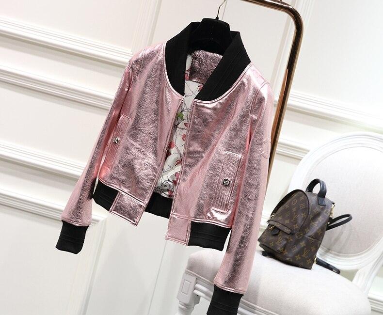 Peau Véritable Ups gold Livraison Nouvelle De Mouton pink silver Femmes 2017 Naturel Automne Manteaux Veste En Chute Argent Dames Cuir Rose Or Gratuite Blue pOwxnfSqT