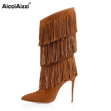 Women Thin High Heel Mid-Calf Boots Woman Sexy Pointed Toe Shoes Ladies New Tassel Heeled Footwear Heels Shoes Size 35-46 B120