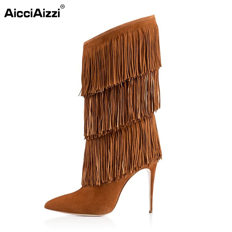 Women Thin High Heel Mid-Calf Boots Woman Sexy Pointed Toe Shoes Ladies New Tassel Heeled Footwear Heels Shoes Size 35-46 B120 high heels women pointed toe pumps fashion glitter thin heel shoes woman sexy wedding party heeled footwear shoes size 34 47