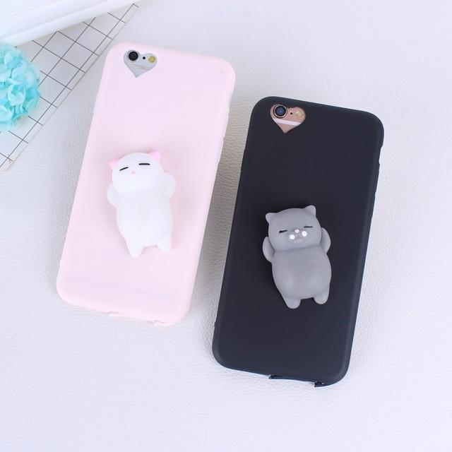 7aef454fe19 Funda de silicona Linda 3D Bear Animal Squishy para iphone 6 6s 4,7 ...
