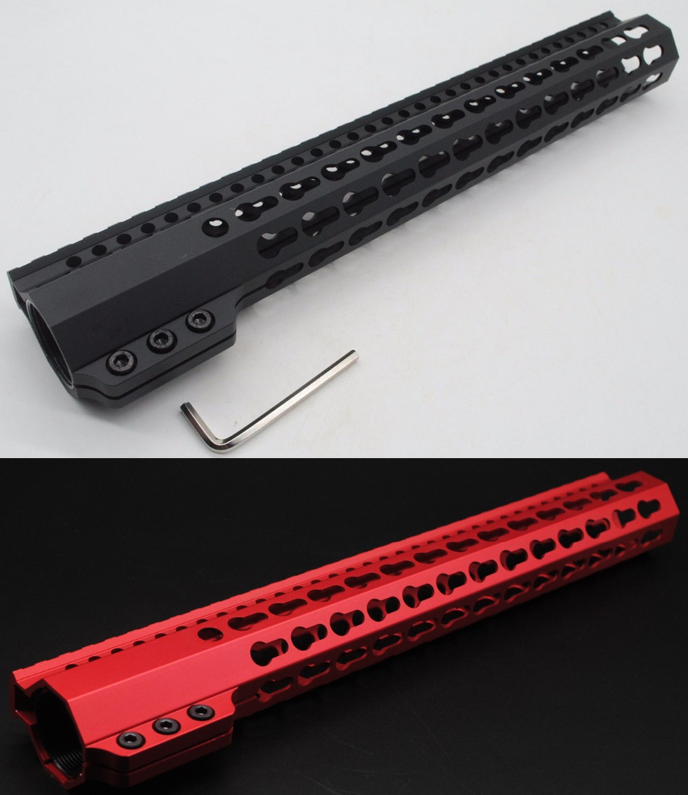 TriRock 13 5 inch Length Black Red Slim Keymod Handguard Free Floating Picatinny Rail Mount Steel