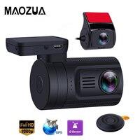 Maozua Car Dash Cam DVR Front 1080P FHD + Rear Camera Parking Guard Auto Registrar Mini 0906 Novatek GPS Dual Lens Dashcam