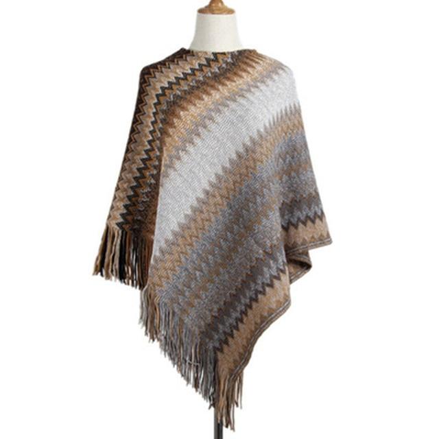 Knitwear Female Irregular Oblique Wave Stripe Tassel Sweater Female Sleeve Loose Casual Cloak Cape Women's Sweater