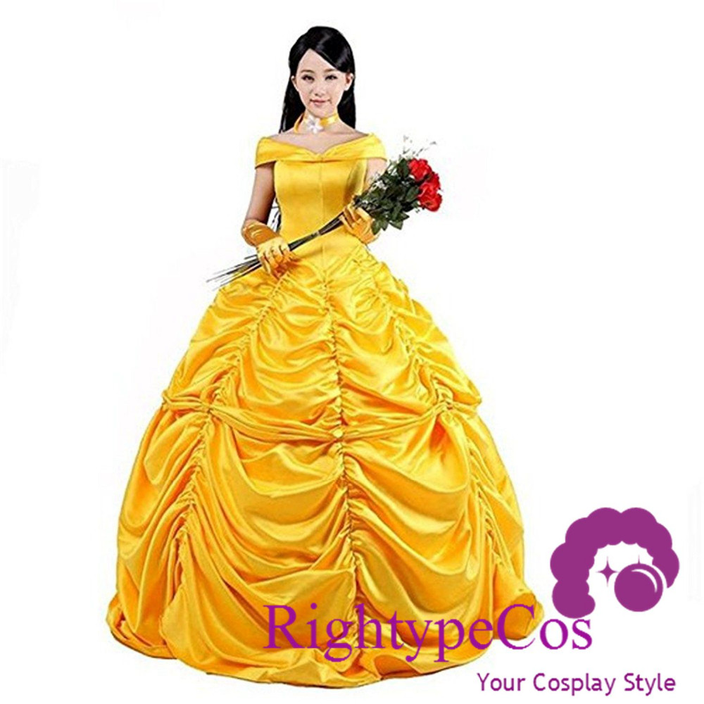 New 2017 Fantasia Women Halloween Cosplay Southern Beauty And The Beast Adult Princess Belle Costume Wedding Dress