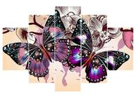 5D DIY алмаз вышивка фиолетовая бабочка 5 шт. картина, вышитая бисером полный квадратный diamond multi-мозаичные украшения дома g