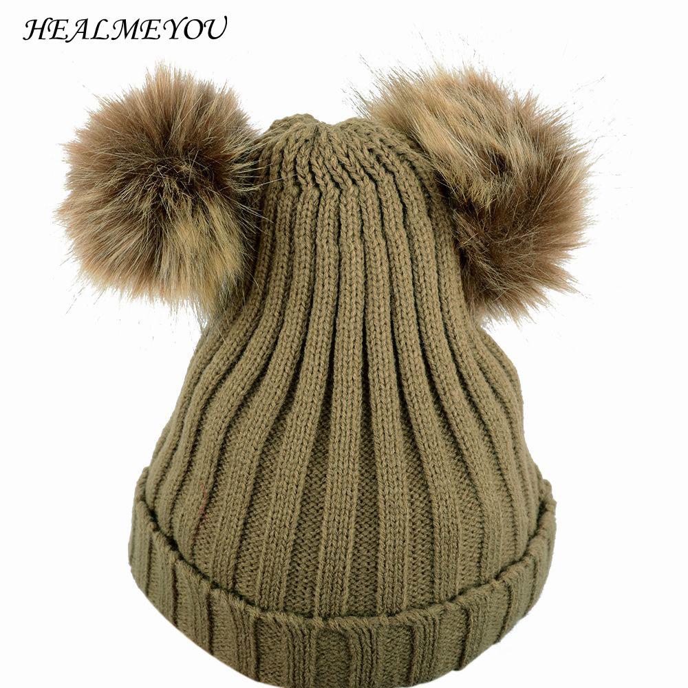 Girls Boys Warm Winter Knit Beanie Hat Crochet Ski Ball Cap