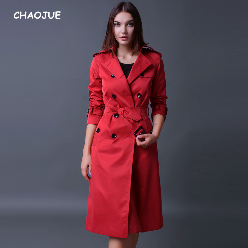 CHAOJUE Brand Trench Coat For Women 2018 Long Sleeve Double Breasted Plus Size Red Coat Female Luxury Pea Coat For Wife Gift