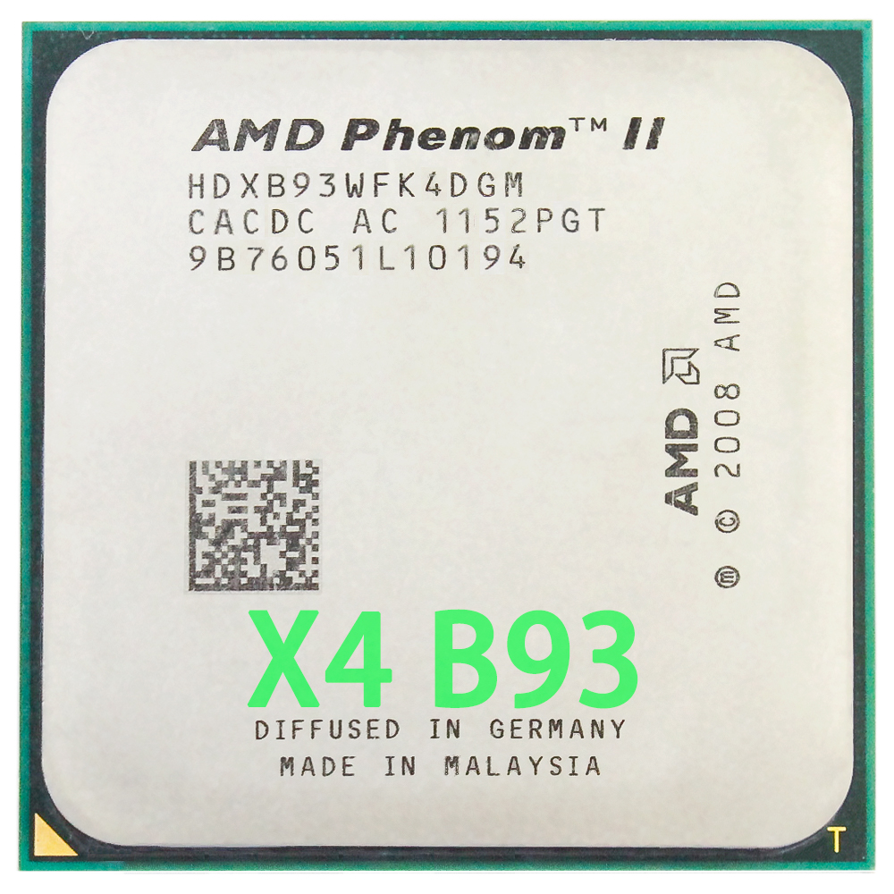 AMD Phenom II X4 B93 CPU Processor Quad-Core (2.8Ghz/ 6M /95W / 2000GHz) Socket Am3 Am2+