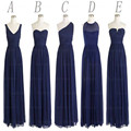 Stock Chiffon Navy Blue Bridesmaid dresses Long Wedding Bridal Gown 5 style free color High Quality Party Dress 2017