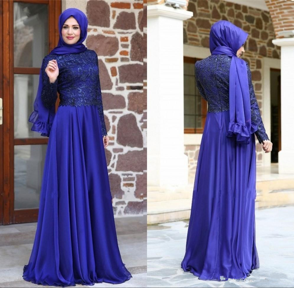 Neueste Türkische Abendkleider Muslim Hijab Langen Ärmeln Spitze ...
