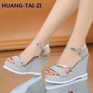 4df453188 HUANG-TAI-ZI Wedges Women Sandals For high heel Shoes