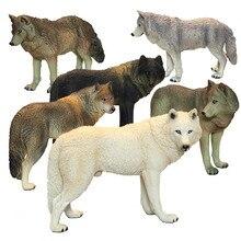 DDWE dziki wilk zabawkowy Model dzikie starożytne zwierzęta dziecko symulacja stałe Zoo Model przyrody świat zabawki dla dzieci zabawki edukacyjne