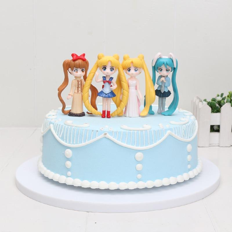 Miraculous 6Pcs Set Japan Anime Sailor Moon Cake Topper Hatsune Miku Tsukino Personalised Birthday Cards Paralily Jamesorg