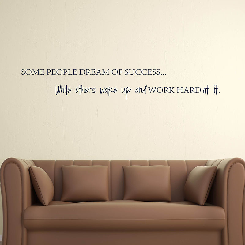 Wake Up Work Hard At Your Dreams Motivational Quotes Wall Sticker DIY Decorative Inspirational Quote Wall Decal Office Q153 in Wall Stickers from Home Garden