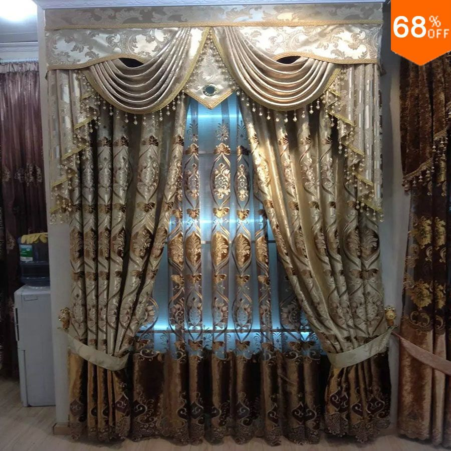 new Dubai Luxury magnetic curtain for living room golden embroidery door hotel crystal bead curtains ancient times