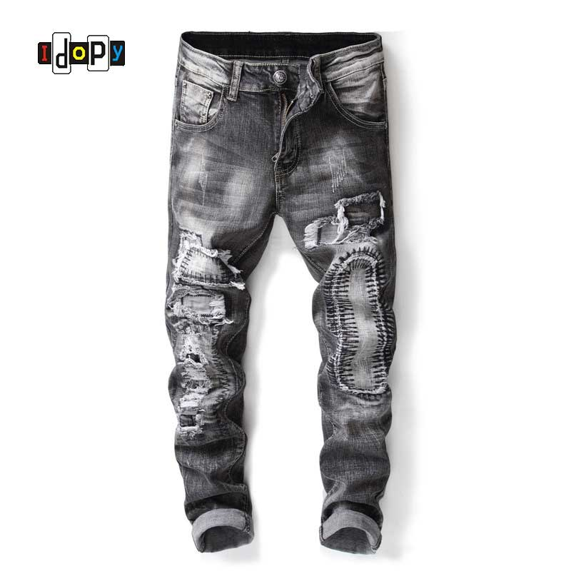 Idopy Fashion Mens Ripped Jeans Straight Fit Distressed Jeans Patchwork Vintage Washed Denim Pants For Men
