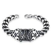 Dos homens da forma 316L Inoxidável pulseira de aço titanium Frete Grátis-Mason maçônica pulseira do homem