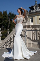 Vnaix WV018 Top Sexy See Through Beaded Applique Ivory Sexy Mermaid Lace Wedding Dress 2016