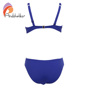 Image 4 - Andzhelika 2020 Summer Solid Bikinis Women Swimsuit Soft Cups Steel prop Bikini Set Beach Swim Suits Maillot de bain