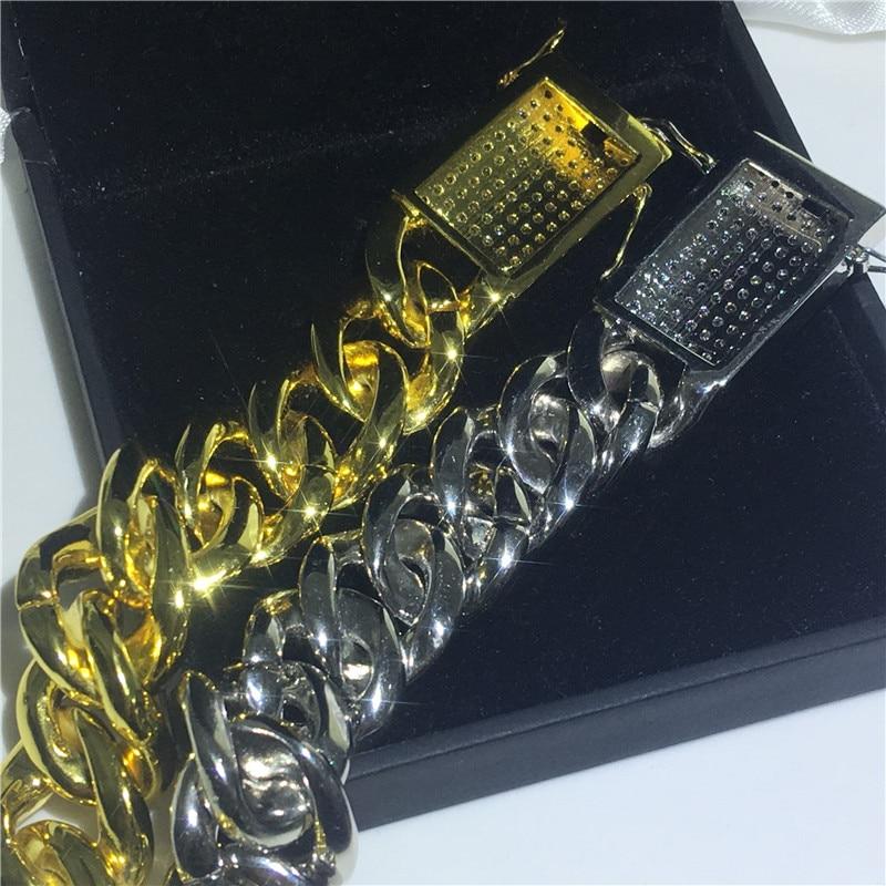 Choucong luksusowe mężczyzna Hiphop bransoletka białe złoto wypełnione AAAAA cyrkon Party rocznica bransoletki dla mężczyzn moda Rock biżuteria w Bransoletki łańcuszkowe od Biżuteria i akcesoria na  Grupa 3