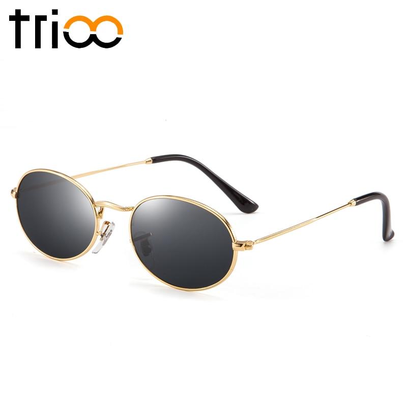 TRIOO Schmale Oval Sonnenbrillen für frauen Goldrahmen Schwarz ...