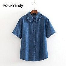 купить Ruffles Turn-down Collar Denim Blouse Women Short Sleeve Shirts Casual Blue Blouse Shirt Plus Size XXXL 5XL KKFY3472 дешево