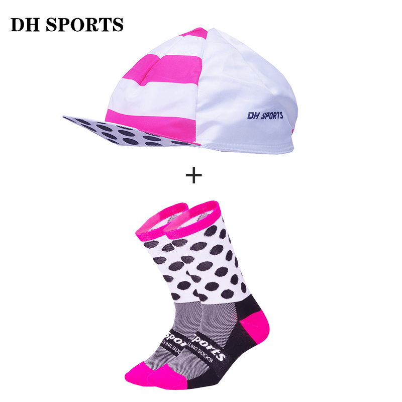 DH SPORTS New Professional Cycling Socks with Caps Men Women Quality Bicycle Hat Racing Bike Sock Cap Compression Running Socks cntang summer embroidery letter w baseball cap fashion cotton snapback for men women trucker hat unisex casual caps gorras