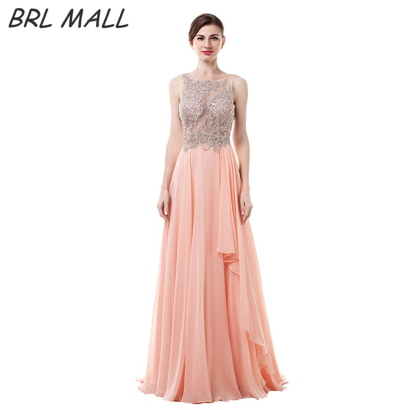BRLMALL 2017 Coral   Prom     Dress   Beaded Crystal Vestido De Festa Chiffon A-Line Sleeveless Long Evening   Dress   Vestido De Festa