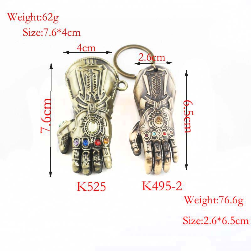 Image 4 - RJ Hot Sale 10Pcs/Lot Avengers 3 Thanos Series Mask Infinite Power Gauntlet Keychains Thor Hammer Men Boys Alloy Keyring Gift-in Key Chains from Jewelry & Accessories