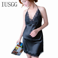 Summer Women Solid Sexy Silk Backless Lace Sleepwear Sleeveless V Neck Mini Summer Night Dress For Women V Casual Home
