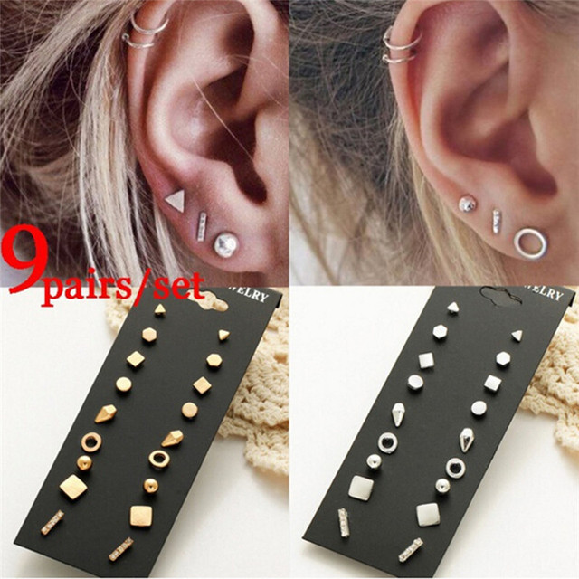 66ce23211 9Pairs/set Gold/Silver Color Crystal Stud Earrings Set for Women Female  Round Small Geometric Piercing Earrings for Party Gift-in Stud Earrings  from Jewelry ...
