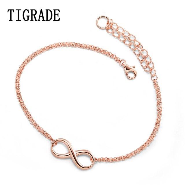 TIGRADE Rose Gold Infinity Bracelet Women 45 cm Fashion Brand 925