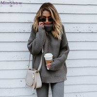 MisShow Winter Autumn Oversized Turtleneck Women Sweaters Solid Knitted Thick Warm Pullovers Crocheted Jumper Pull Femme