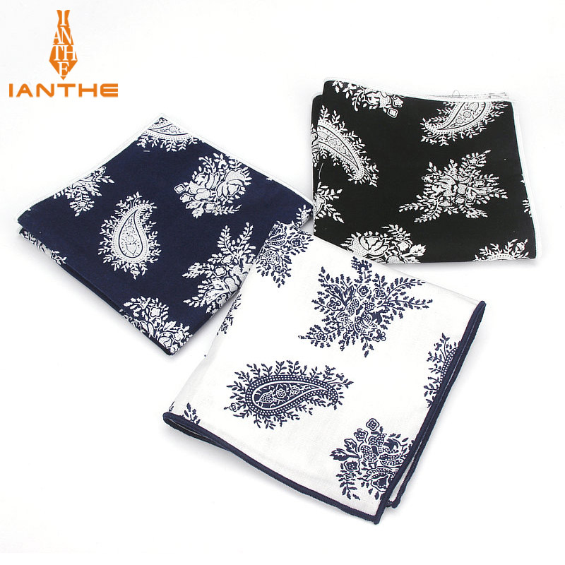 2018 Brand Men Suits Cotton Handkerchief Paisley Vintage Pocket Square Hankies Men's Wedding Fashion Square Pockets Hanky Towel