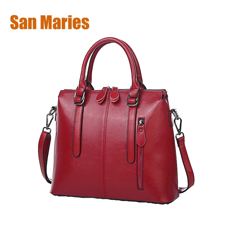 San Maries New Arrival 2018 Genuine Leather Women Handbag Soft Leather Fashion Shoulder Bag Large capacity Casual Woman Bags new arrival 2018 brand genuine leather women handbag soft leather fashion shoulder bag casual women bag cow skin messenger bag