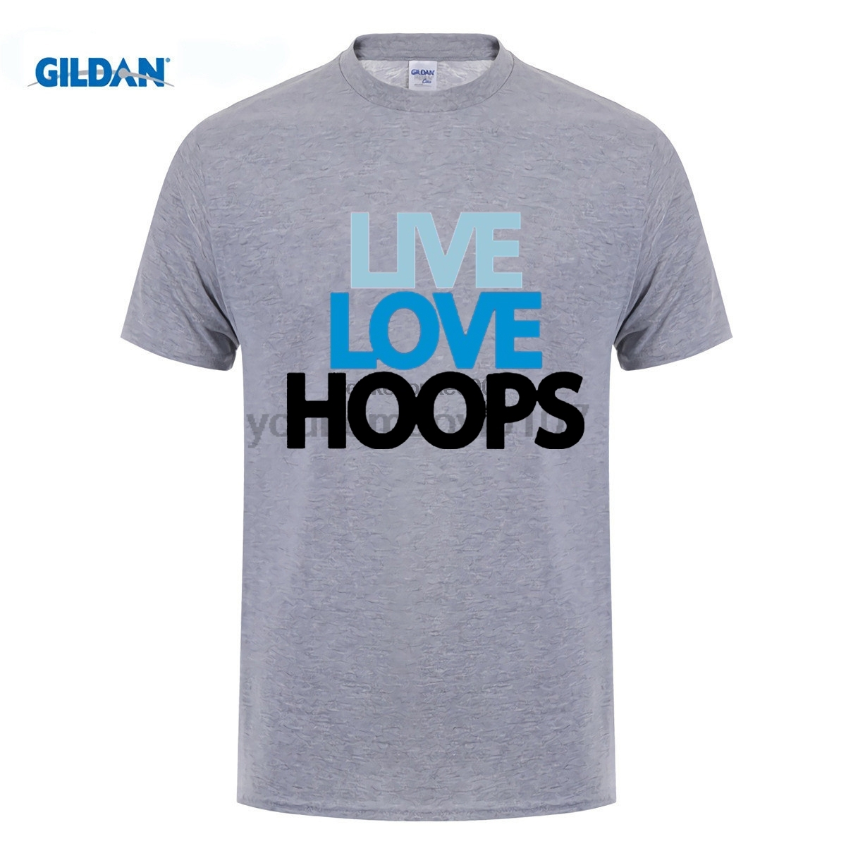 GILDAN funny men t shirt Live Love Hoops Guy T shirt For Sale Large Size Basketballer Team Men Print T Shirt
