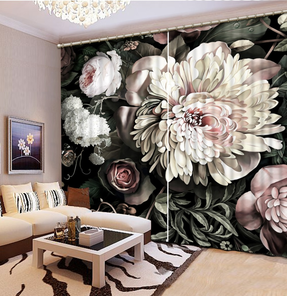 Kitchen Window 3d Curtains Customize Curtains For The Living Room  Chrysanthemum Curtains Kitchen Modern Bedroom Curtains