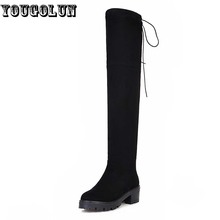 YOUGOLUN Women Winter Thigh High Boots Sexy ladies Stretch Fabric High Boots Fashion Woman Square Heel Black Shoe Over The Knee