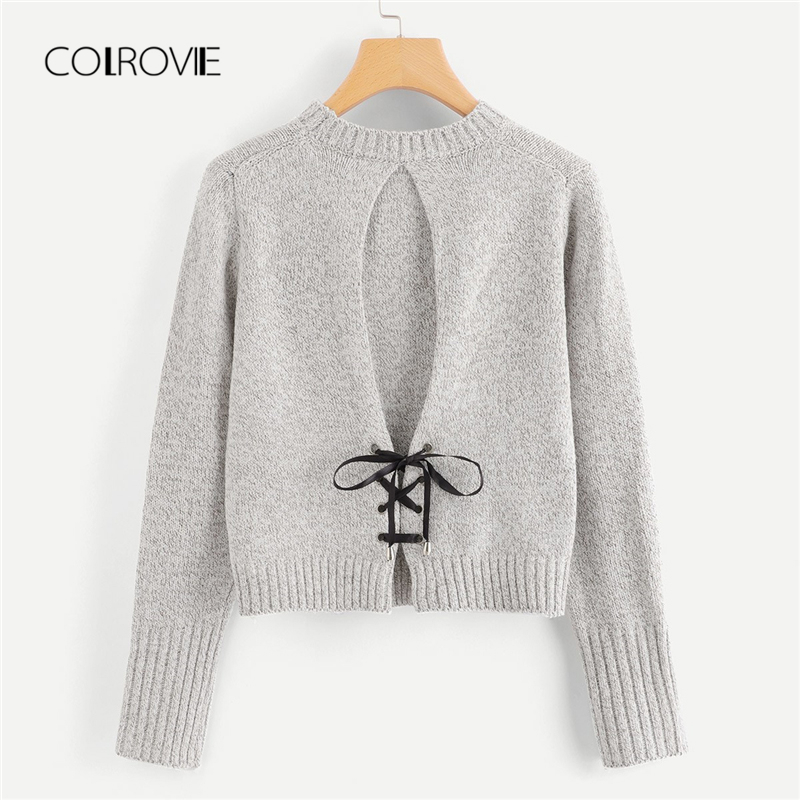 COLROVIE Grey Solid Work Lace Up Back Knit Women Sweater 2018 Autumn Elegant Pullovers Ladies Jumper Streetwear Girls Sweaters