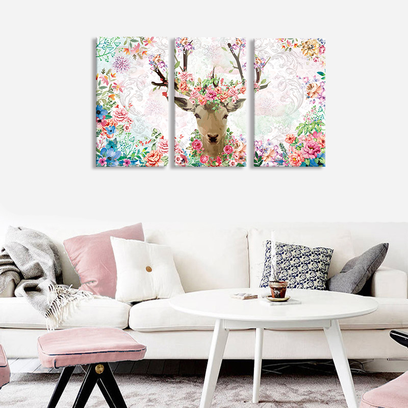 Canvas HD Prints Paintings Wall Art Framework For Living Room Home Decor 3 Pieces Flowers Pictures Animal Deer Posters