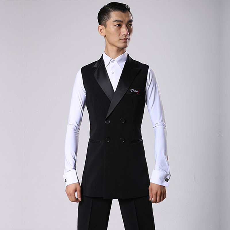 Image 2 - Ballroom Latin Dance Shirts Men Black Long Veat Coat Male Waltz Flamengo Cha Cha  Clothes Competition Performance Wear DNV11344Ballroom   -