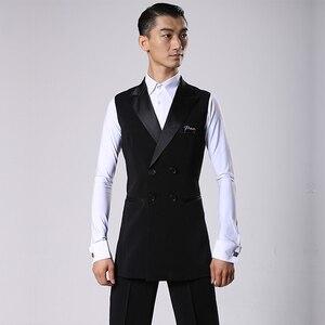 Image 2 - סלוניים לטיני ריקוד חולצות גברים שחור ארוך Veat מעיל זכר ואלס פלמנגו Cha Cha בגדי תחרות ביצועים ללבוש DNV11344