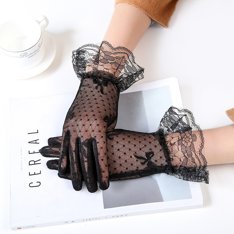 Female Sexy Lace Summer Sunscreen Gloves Ladies Ceremony Women's Gloves Breathable Short Lace Full Finger Gloves B67
