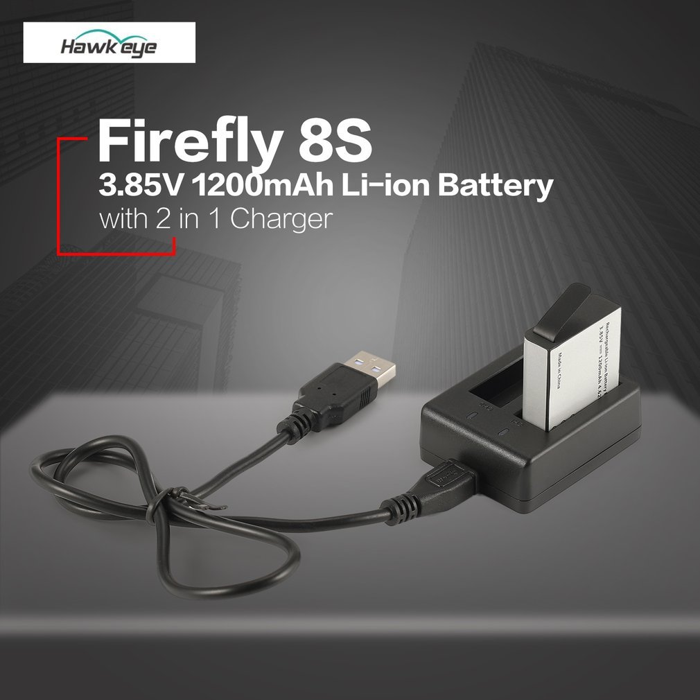 Hawkeye Firefly 8S S009R 3.85V 1200mAh Li-ion Replacement Battery with 2 in 1 Battery Charger Sports Action Camera Kit replacement li ion 2 x battery charger fnp 50 np50 for fuji camera f50fd f60fd f100fd