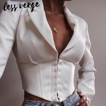 Lessverge Sexy v neck cropped short white blazer Women casual long sleeve female blazer jacket Autumn party slim elegant blazer
