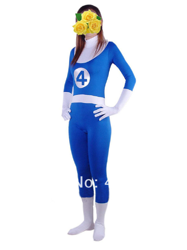 Blue & White Lycra Fantastic Four Marvel Comics Fantastic Four Spandex Superhero Costume Halloween Carnival costumes play